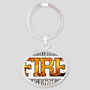 volunteer firefighter 2 Oval Keychain