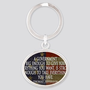 Big Government Quote Oval Keychain