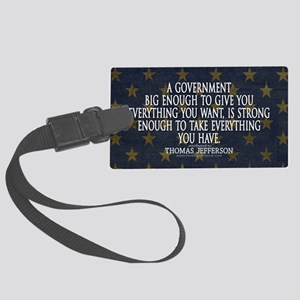 Big Government Quote Large Luggage Tag