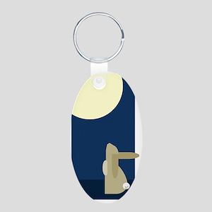 rabbit moon Aluminum Oval Keychain