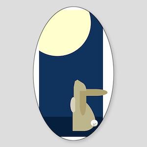 rabbit moon Sticker (Oval)