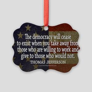 Democracy Quote Picture Ornament