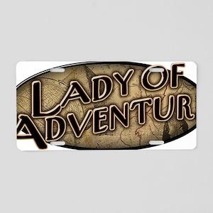 lady-of-adventure_dark-t Aluminum License Plate