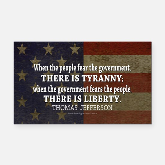 Jefferson Quote Liberty Rectangle Car Magnet