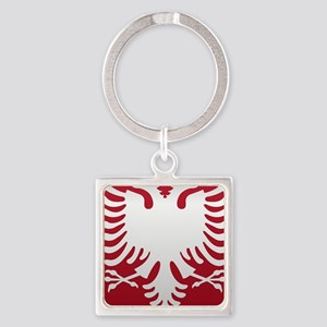 Albanian Eagle White on Red iPhone Square Keychain