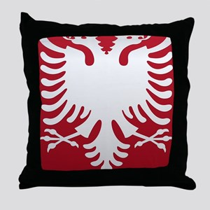 Albanian Eagle White on Red iPhone Ca Throw Pillow