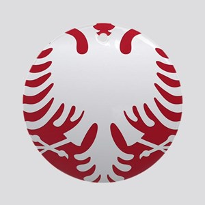 Albanian Eagle White on Red iPhone  Round Ornament