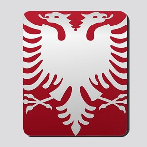 Albanian Eagle White on Red iPhone Case  Mousepad