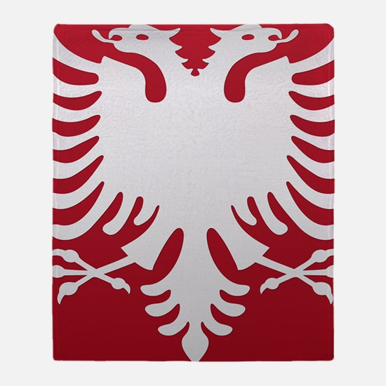 Albanian Eagle White on Red iPhone C Throw Blanket