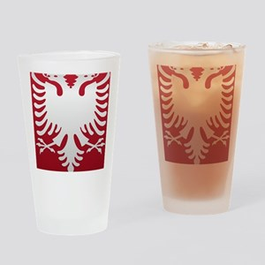 Albanian Eagle White on Red iPhone  Drinking Glass