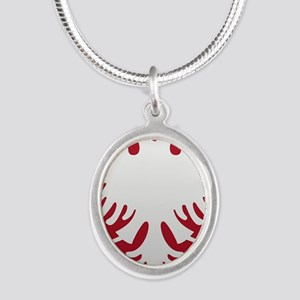 Albanian Eagle White on Red i Silver Oval Necklace