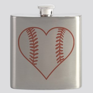 Baseball Heart Flask