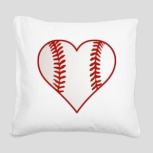 Baseball Heart Square Canvas Pillow