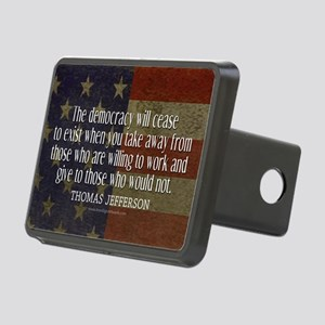 Democracy Quote Rectangular Hitch Cover