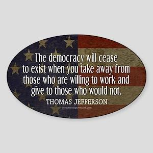 Democracy Quote Sticker (Oval)