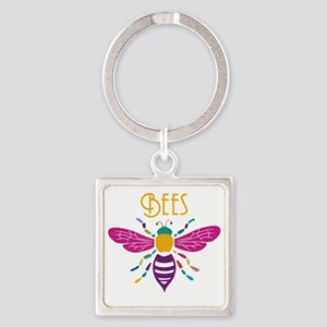 bee stamp colour Square Keychain