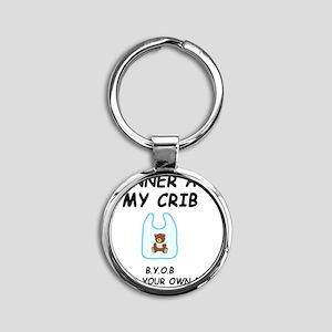 Dinner Crib Black Round Keychain