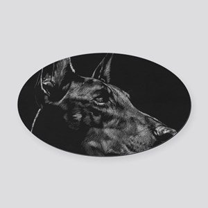 Doberman Oval Car Magnet