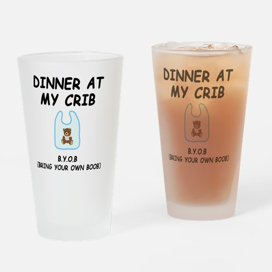 Dinner Crib Boob Black Drinking Glass