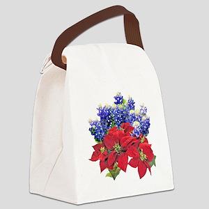 POINSIETTAS  BLUEBONNETS Canvas Lunch Bag