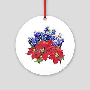 POINSIETTAS  BLUEBONNETS Round Ornament