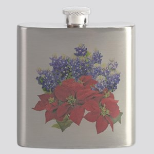POINSIETTAS  BLUEBONNETS Flask