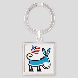 Democrat Donkey Square Keychain