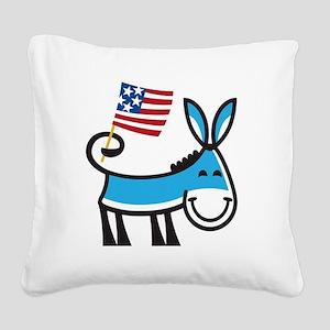 Democrat Donkey Square Canvas Pillow
