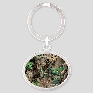 camo-swatch-hardwoods-green Oval Keychain