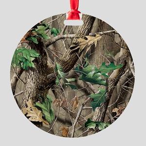 camo-swatch-hardwoods-green Round Ornament