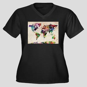 World Map Urban Watercolor 14x10 Plus Size T-Shirt