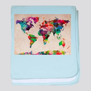 World Map Urban Watercolor 14x10 baby blanket