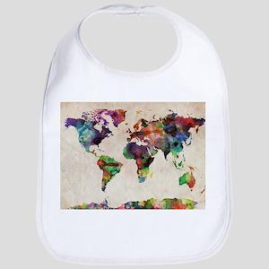 World Map Urban Watercolor 14x10 Baby Bib