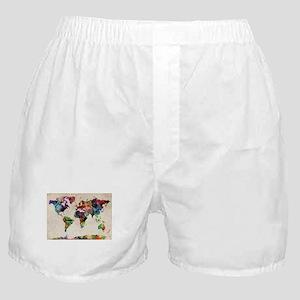 World Map Urban Watercolor 14x10 Boxer Shorts