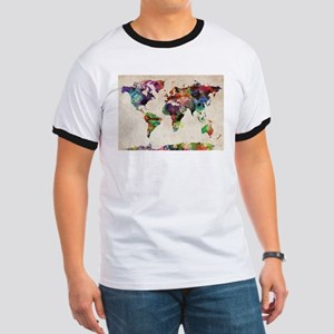 World Map Urban Watercolor 14x10 T-Shirt