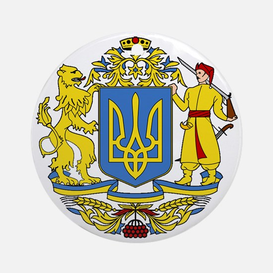 escudo_nacional_de_ucrania_10x10 Round Ornament