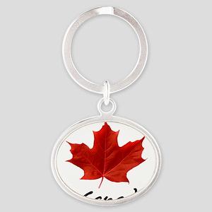 O-Canada-MapleLeaf-blackLetters copy Oval Keychain