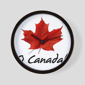 O-Canada-MapleLeaf-blackLetters copy Wall Clock