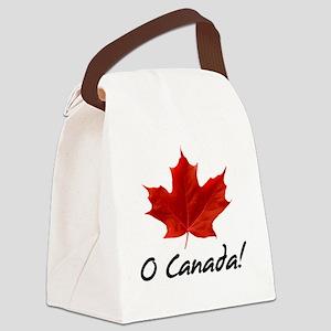O-Canada-MapleLeaf-blackLetters c Canvas Lunch Bag