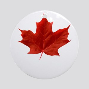 O-Canada-MapleLeaf-whiteLetters cop Round Ornament