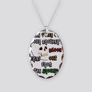 Blood Cries Out white poster Necklace Oval Charm