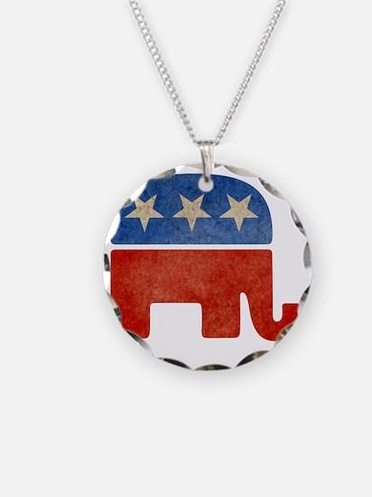 Faded Elephant Necklace Circle Charm