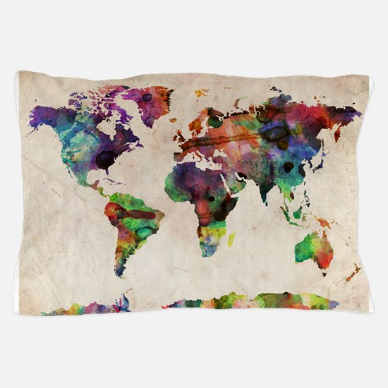 World Map Urban Watercolor 14x10.jpg Pillow Case
