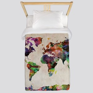 World Map Urban Watercolor 14x10. Twin Duvet Cover