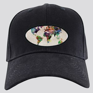 World Map Urban Watercolor 14 Black Cap with Patch