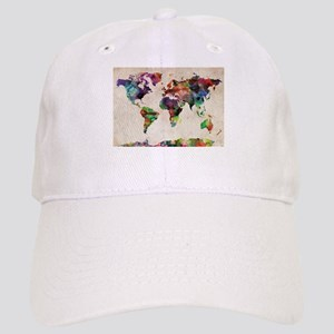 World Map Urban Watercolor 14x10 Cap