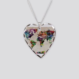 World Map Urban Watercolor 14 Necklace Heart Charm