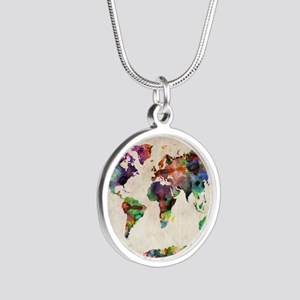 World Map Urban Watercolor 1 Necklaces