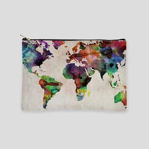World Map Urban Watercolor 14x10 Makeup Pouch