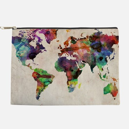 World Map Urban Watercolor 14x10.jpg Makeup Bag
